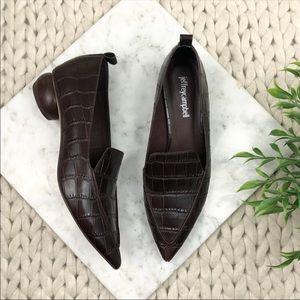 Jeffrey Campbell Viona Loafer Brown Croc Flats